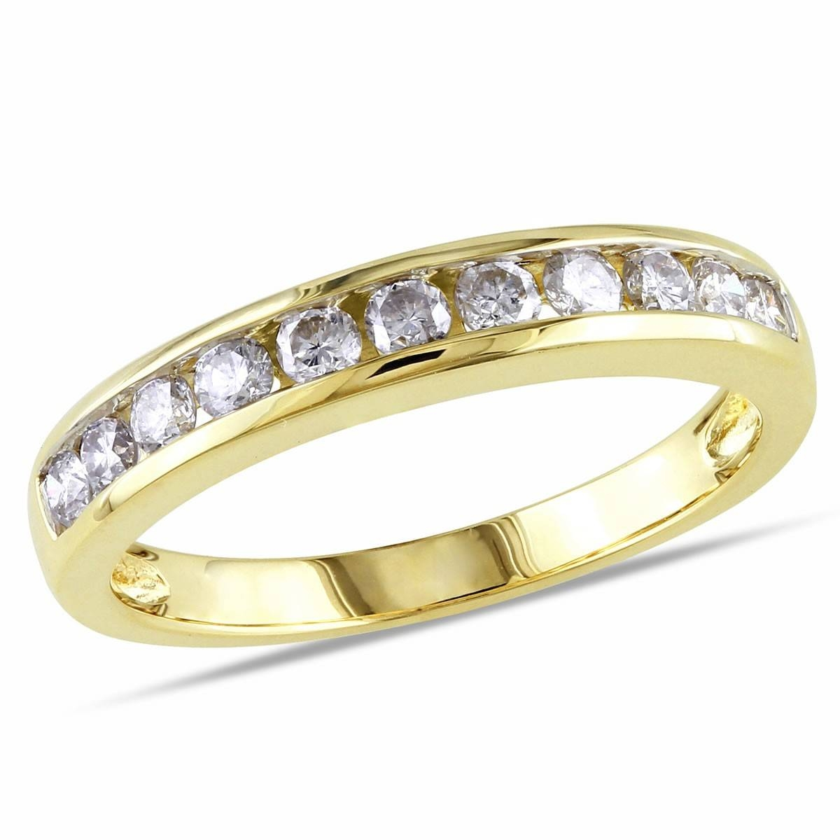 10K Yellow Gold 1/2 Ct Diamond Tw Eternity Anniversary Ring, Gh I2 For Best And Newest Gold Anniversary Rings (View 1 of 25)