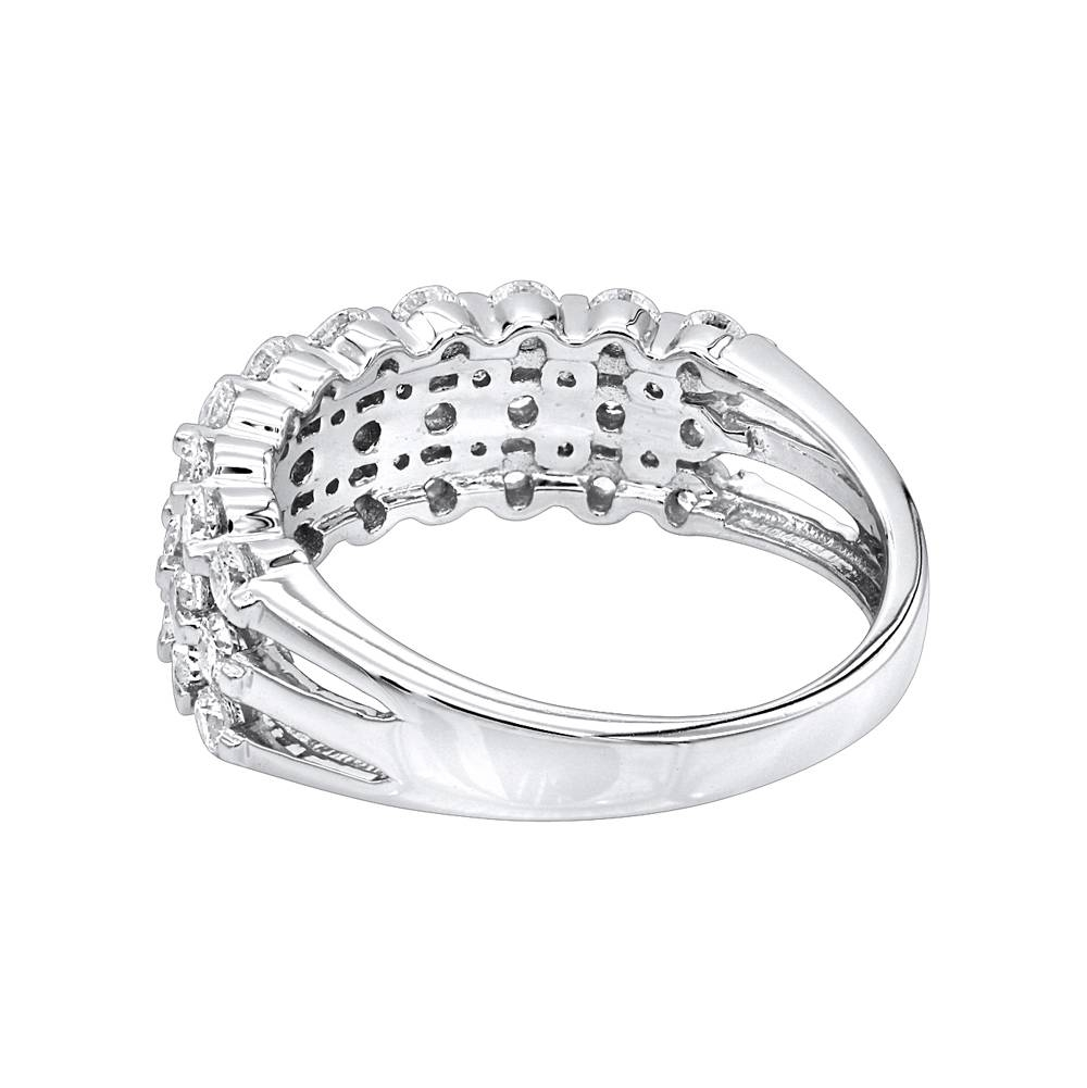 14K Gold 3 Row Diamond Wedding Band For Women Luxurman Anniversary Intended For 2018 3 Diamond Anniversary Rings (View 2 of 25)