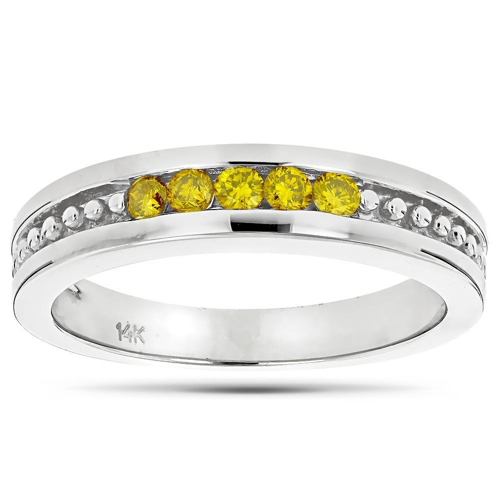 14K Gold Mens Womens Yellow Diamond Wedding Band 5 Stone Throughout 2017 Diamond Wedding Anniversary Rings (View 1 of 25)