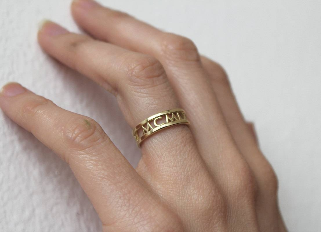 14k Gold Wedding Band Roman Numerals Ring Date Ring Regarding Most Up To Date Personalized Anniversary Rings (View 8 of 25)