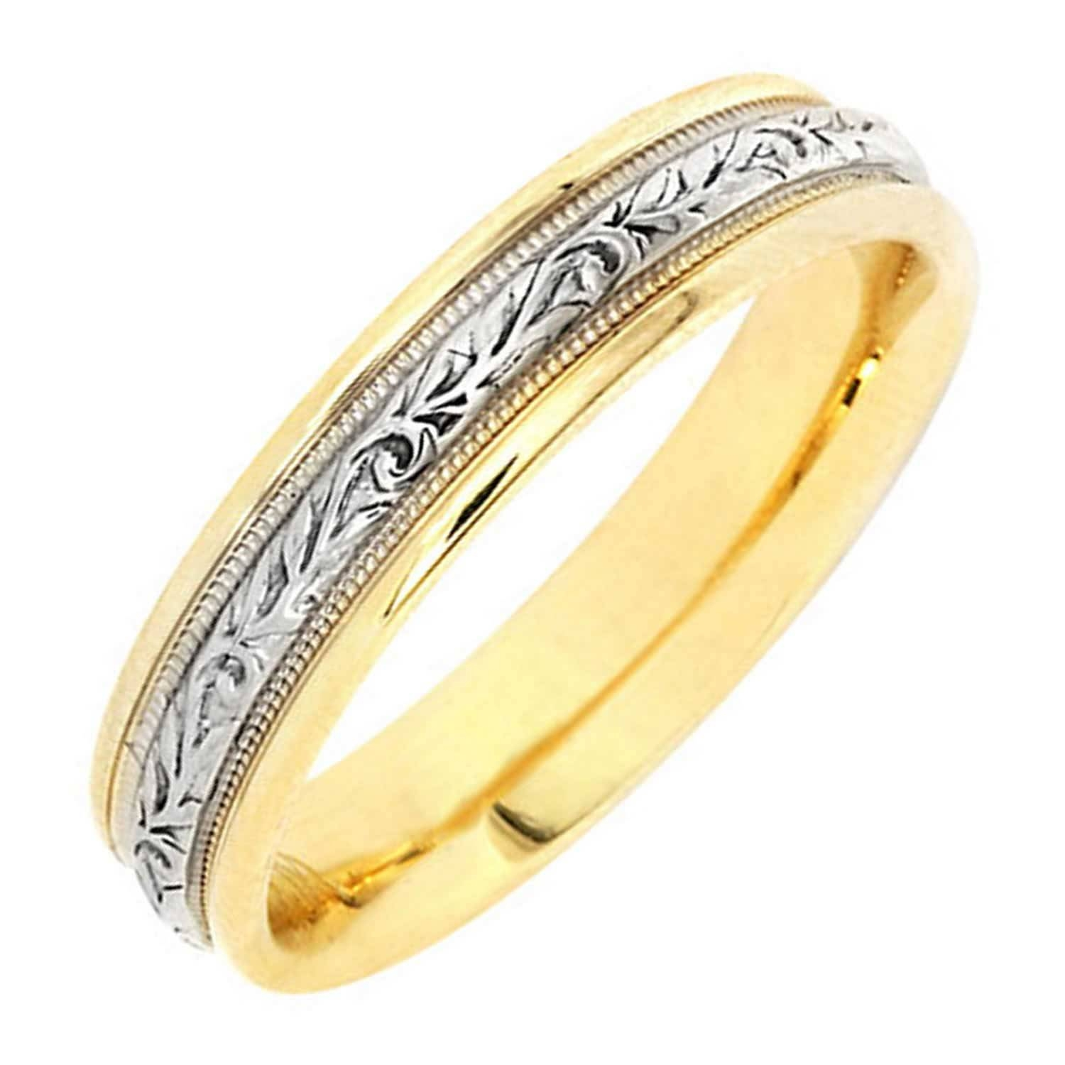 14K Two Tone Gold Vine Floral Band  (View 1 of 25)