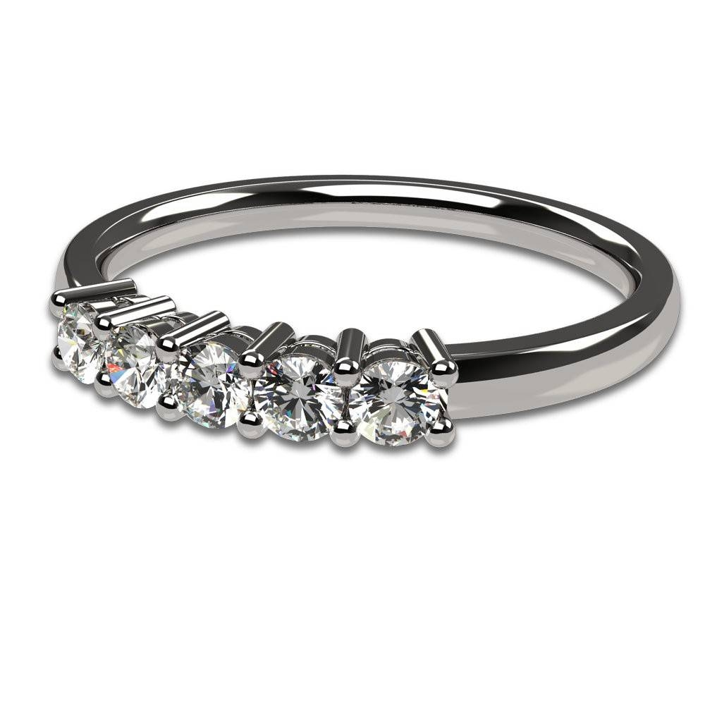 14K White Gold 0.30Ctw Five Stone Anniversary Ring – Five Stone Intended For 2017 Five Stone Anniversary Rings (Gallery 17 of 25)