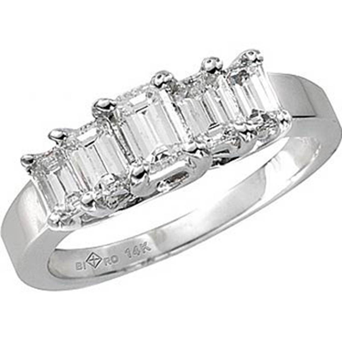 14K White Gold 1 Ctw Cindy Graduated 5 Stone Emerald Cut Diamond For Current Emerald Cut Diamond Anniversary Rings (Gallery 3 of 25)