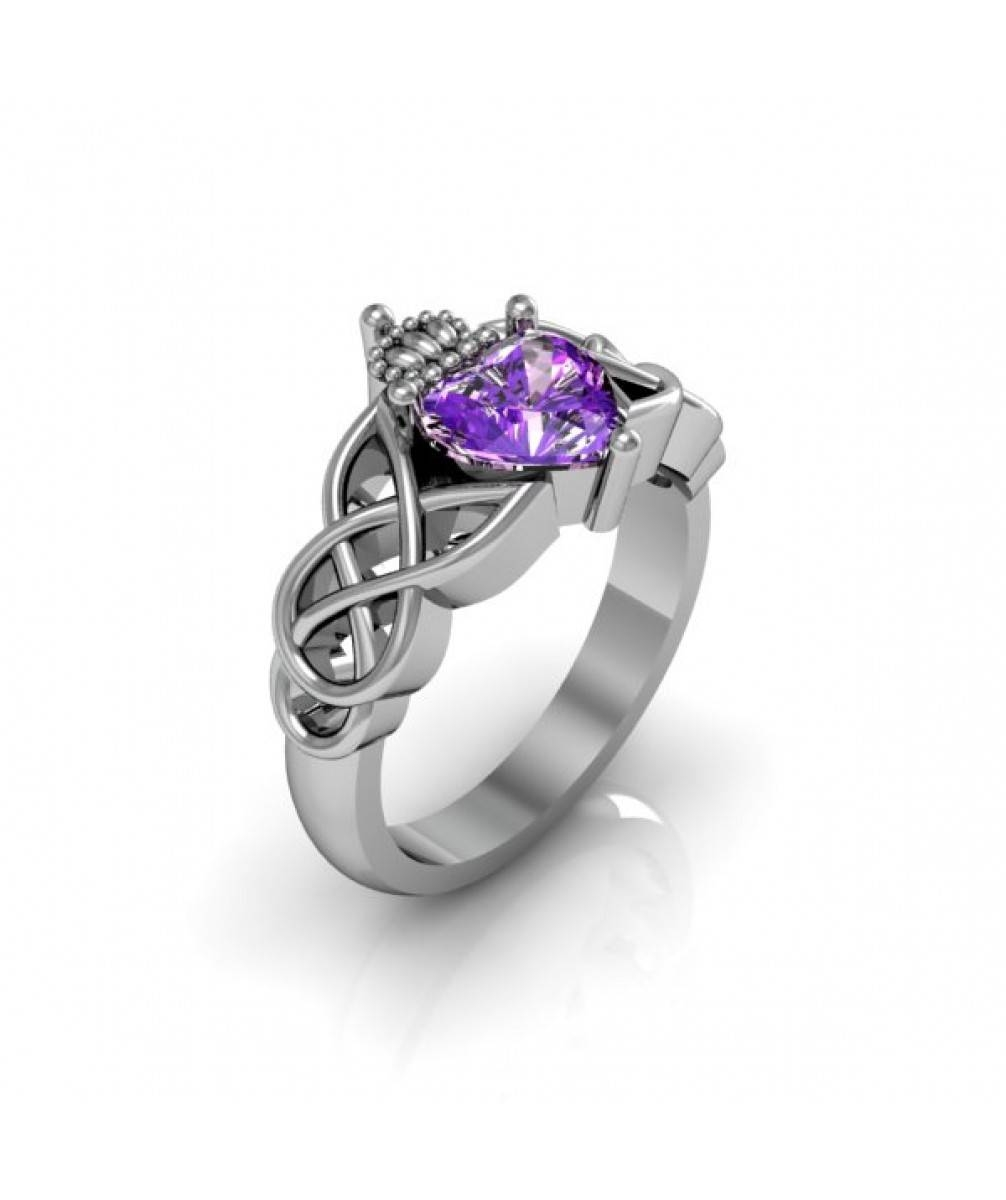 14K White Gold Amethyst Claddagh Celtic Wedding Anniversary Ring Regarding Most Up To Date Celtic Anniversary Rings (View 1 of 25)