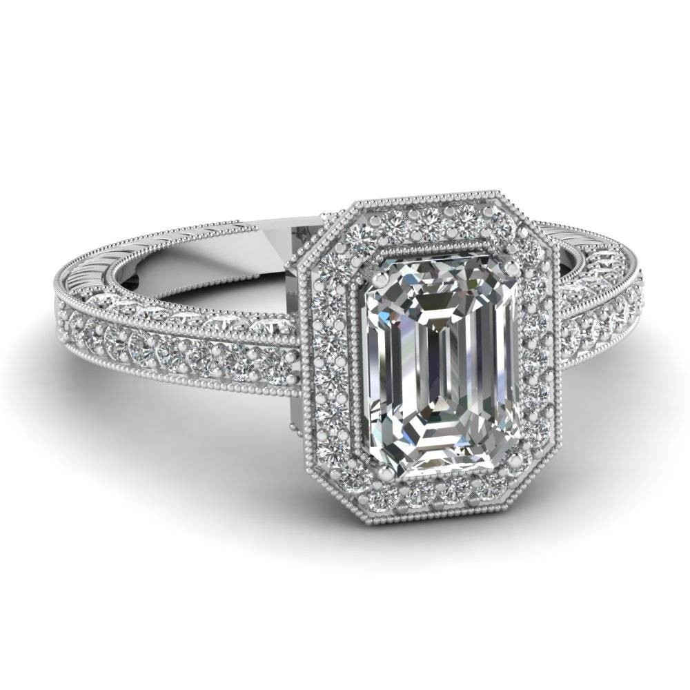 14K White Gold Emerald Cut Halo Engagement Rings | Fascinating Inside Most Recent Emerald Cut Diamond Anniversary Rings (View 4 of 25)