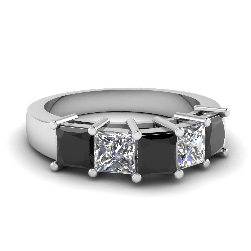 14K White Gold Princess Cut Black Diamond Wedding Band Throughout Current Black Diamond Anniversary Rings (View 1 of 25)