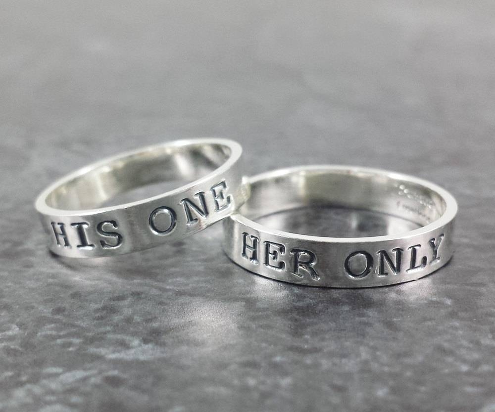 14K White Gold Wedding Band Set His One Her Only Wedding Intended For Most Up To Date His And Hers Anniversary Rings (View 1 of 25)