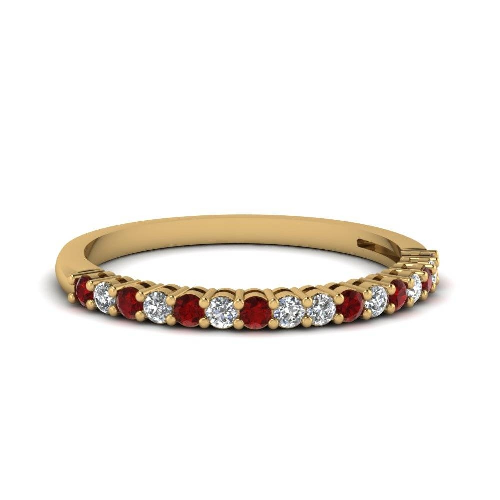 14K Yellow Gold Prong Red Ruby Wedding Band | Fascinating Diamonds Pertaining To Newest Ruby And Diamond Anniversary Rings (View 1 of 25)