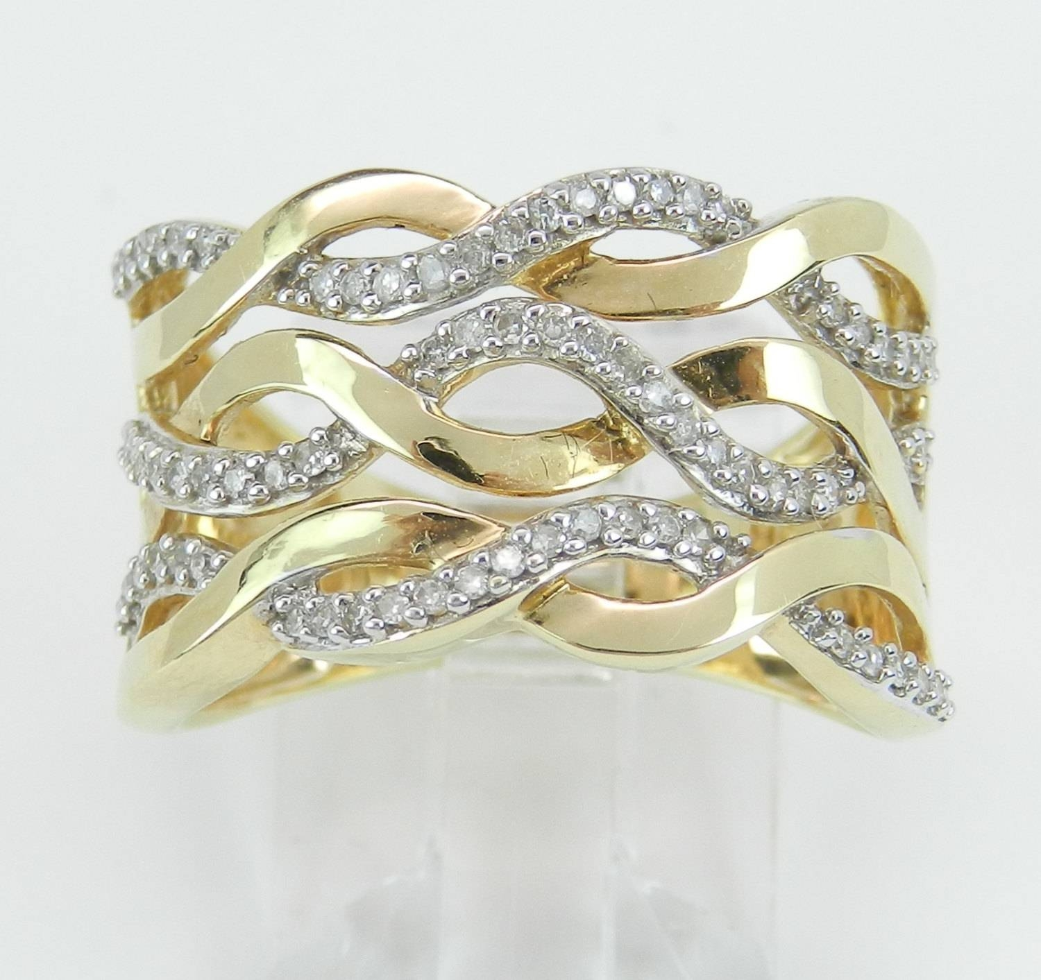 14K Yellow Gold Wide Diamond Anniversary Ring Multi Row Wedding With Regard To Newest Wide Band Diamond Anniversary Rings (Gallery 14 of 25)