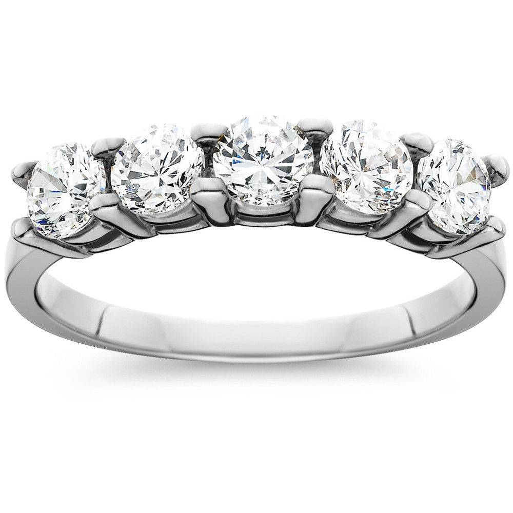 1ct Five Stone Genuine Round Diamond Wedding Anniversary Ring 14k Intended For Most Recent Five Stone Diamond Anniversary Rings (Gallery 24 of 25)