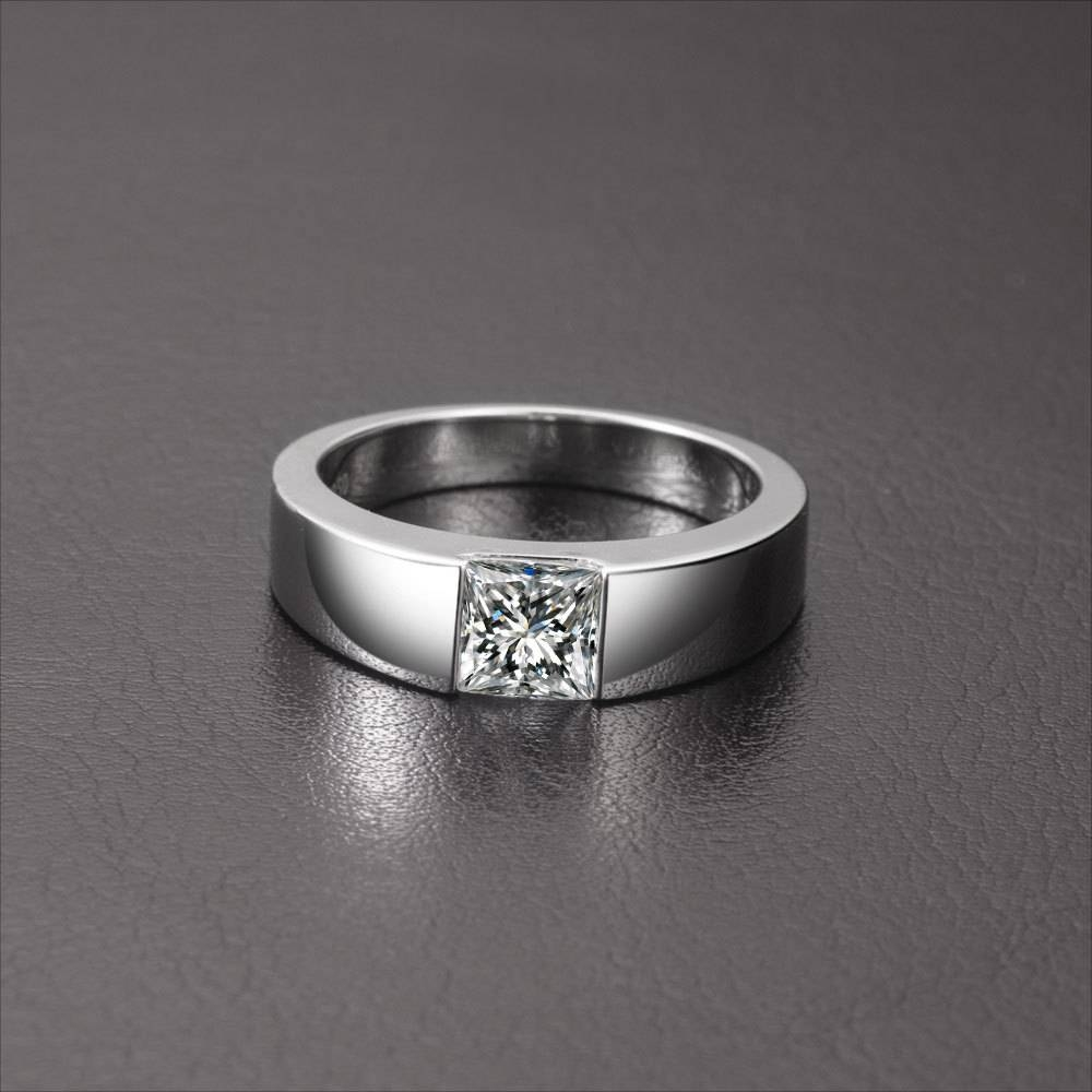 1Ct Princess Cut 18K White Gold Simulate Diamond Engagement Men Intended For Most Current Anniversary Rings For Men (View 4 of 25)