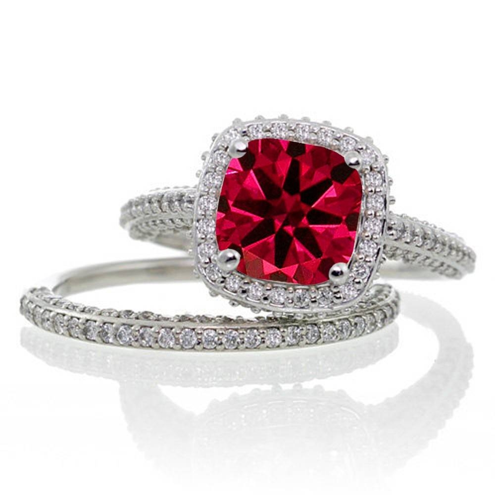 2.5 Carat Cushion Cut Designer Ruby And Diamond Halo Wedding Ring Inside Most Popular Ruby Anniversary Rings (Gallery 3 of 25)