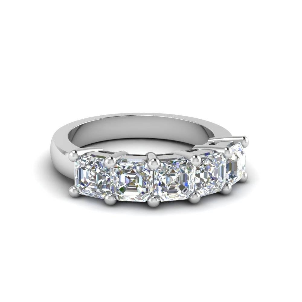 2.5 Ct. Asscher Diamond Wedding Anniversary Band In 14K White Gold Within Latest Five Stone Anniversary Rings (Gallery 14 of 25)