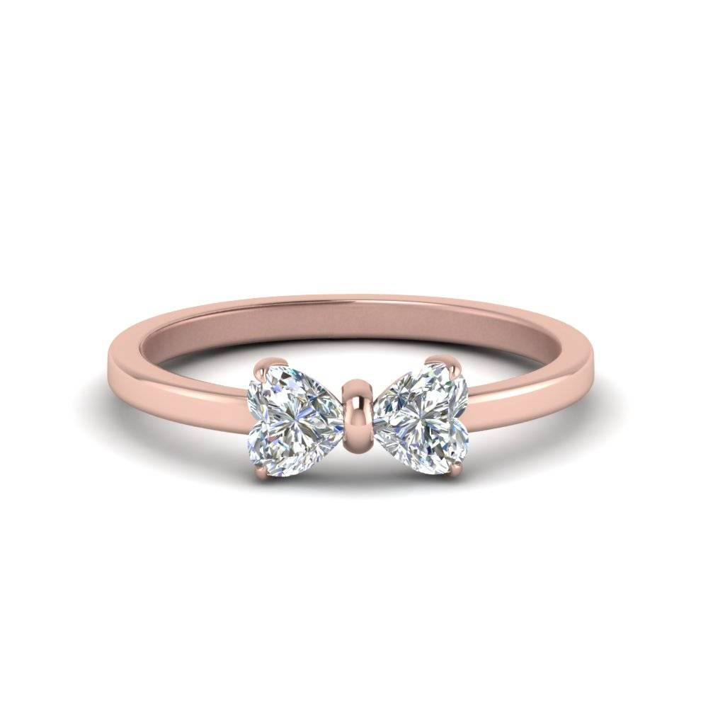2 Heart Shaped Bow Diamond Ring In 14K Rose Gold | Fascinating Regarding Most Up To Date 5Th Anniversary Rings (View 1 of 25)