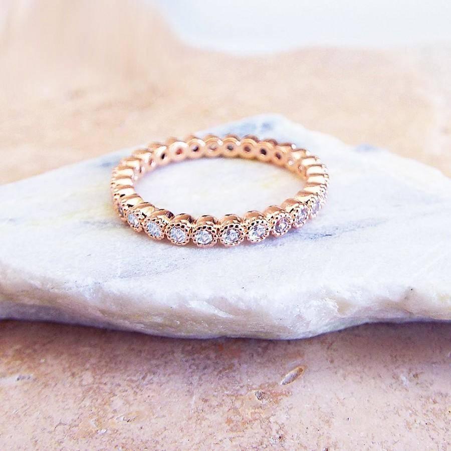 2 Mm Rose Gold Full Eternity Milgrain Bezel Cz Ring Stacking Ring Regarding Latest Eternity Anniversary Rings (View 2 of 25)