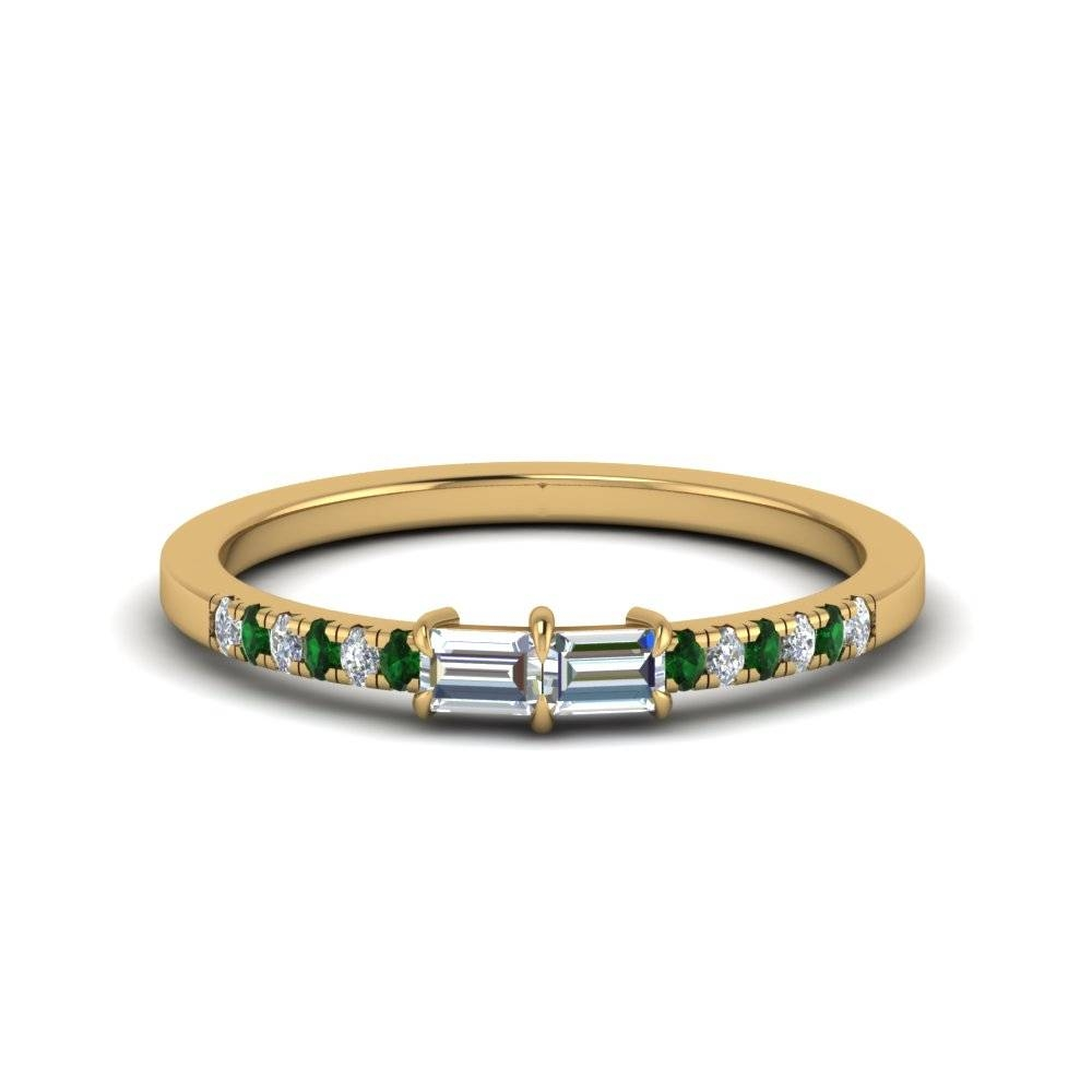 2 Stone Baguette Diamond Promise Ring With Emerald In 18K Yellow With Best And Newest Emerald Anniversary Rings (View 3 of 25)