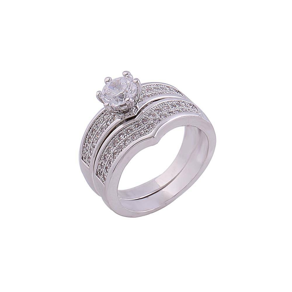 2018 White Gold Couple Rings Bridal Jewelry Latest Design Promise With Best And Newest Couples Anniversary Rings (View 1 of 25)