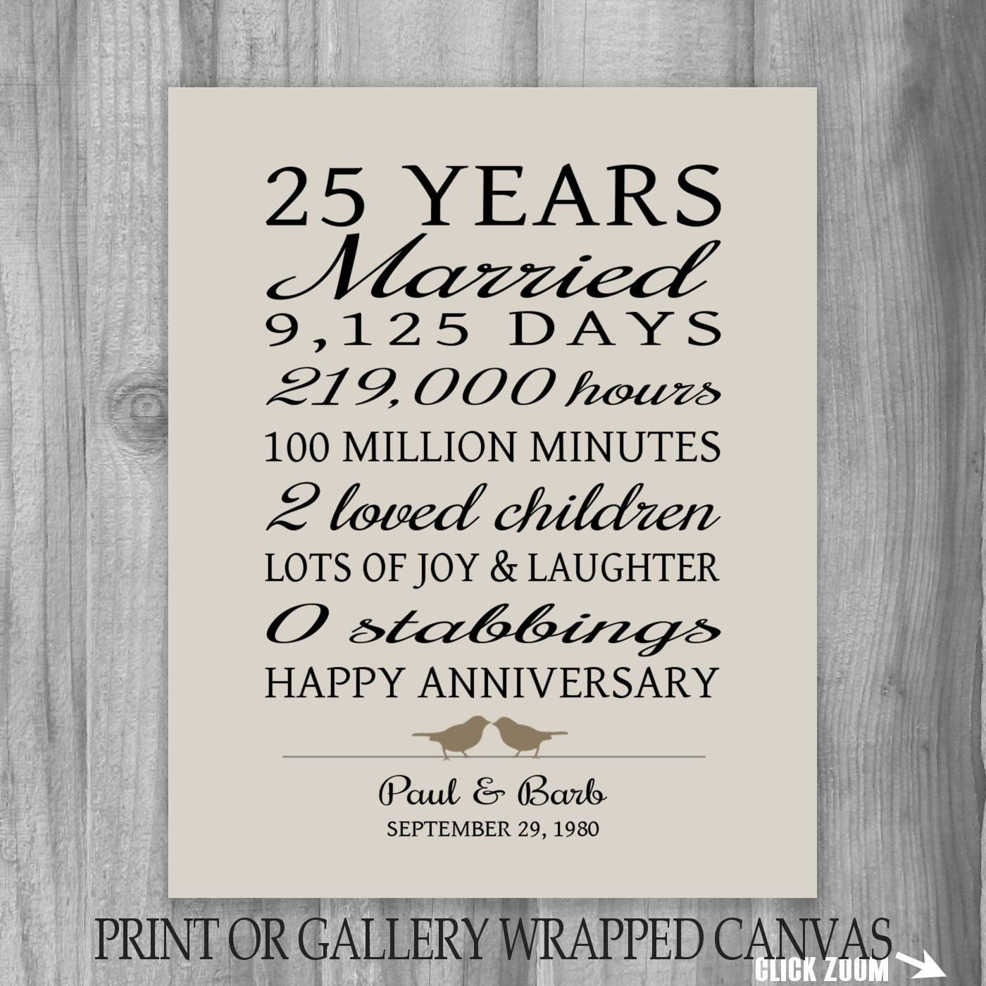 25 Year Anniversary Gift 25Th Anniversary Art Print Within Most Popular 25 Year Anniversary Rings (View 1 of 25)