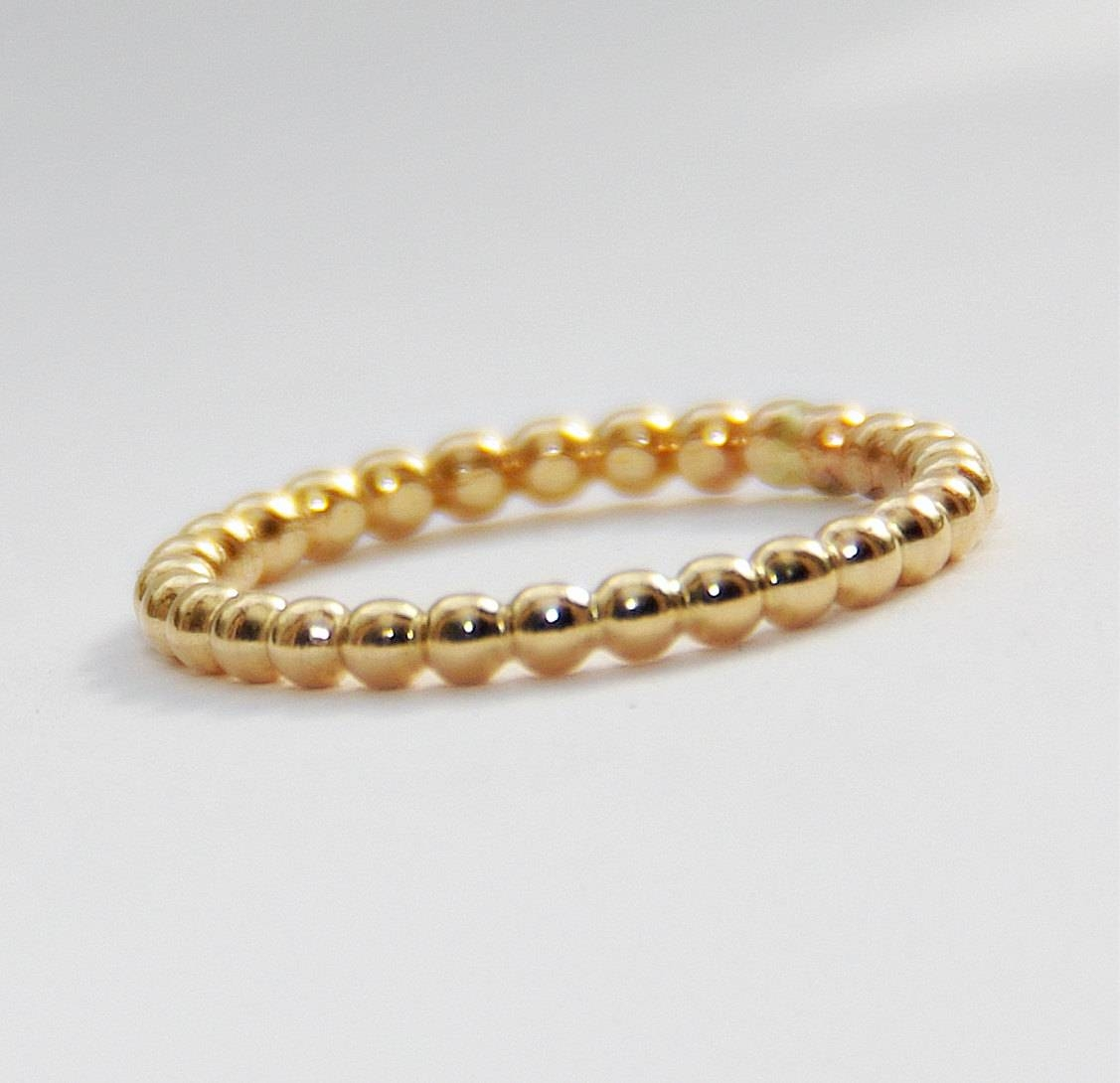 2Mm Bold Yellow Gold Filled Beaded Ring  Anniversary Ring  14K Pertaining To Most Popular Stackable Anniversary Rings (View 2 of 25)