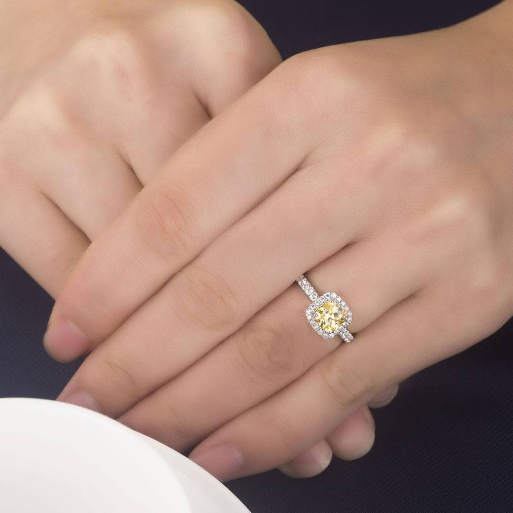 3 Carat Pure White Gold Yellow Cushion Cut Authentic Diamond Women With Most Up To Date 3 Carat Anniversary Rings (View 6 of 25)
