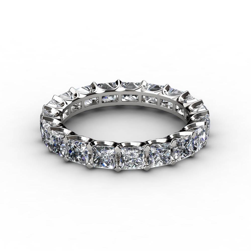 4.50 Ct Princess Cut U Prong Diamond Eternity Anniversary Ring Throughout Most Current Princess Cut Diamond Anniversary Rings (Gallery 13 of 25)