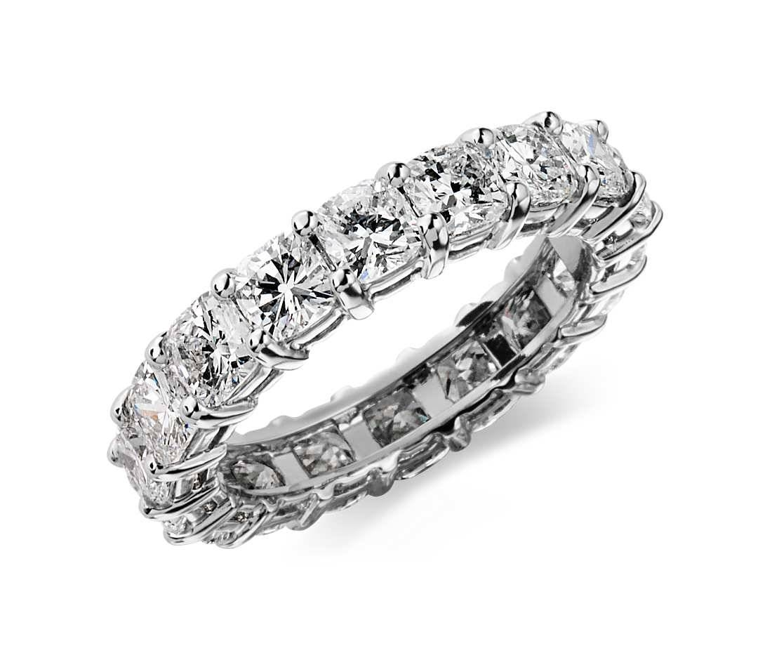 4 Ct. Tw. Cushion Cut Cubic Zirconia Eternity Ring In 14K White Regarding Current 3 Carat Anniversary Rings (Gallery 5 of 25)