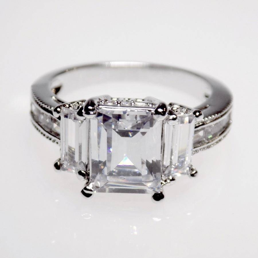 5.1 Carat Emerald Cut Engagement Ring Wedding Ring Anniversary For Most Popular Emerald Cut Diamond Anniversary Rings (Gallery 18 of 25)