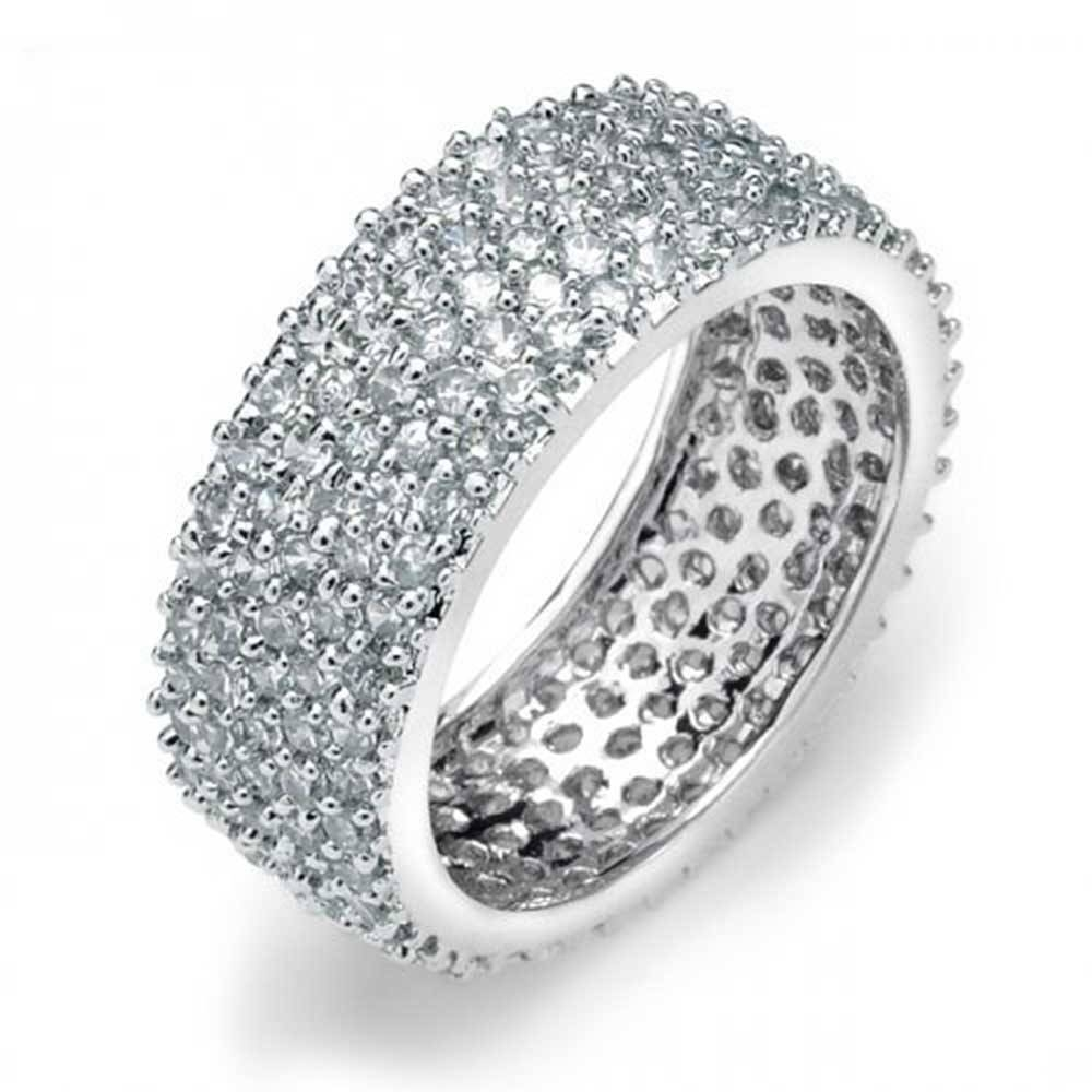 5 Row 925 Sterling Silver Micro Pave Cubic Zirconia Eternity Band Inside Recent Pave Anniversary Rings (View 7 of 25)