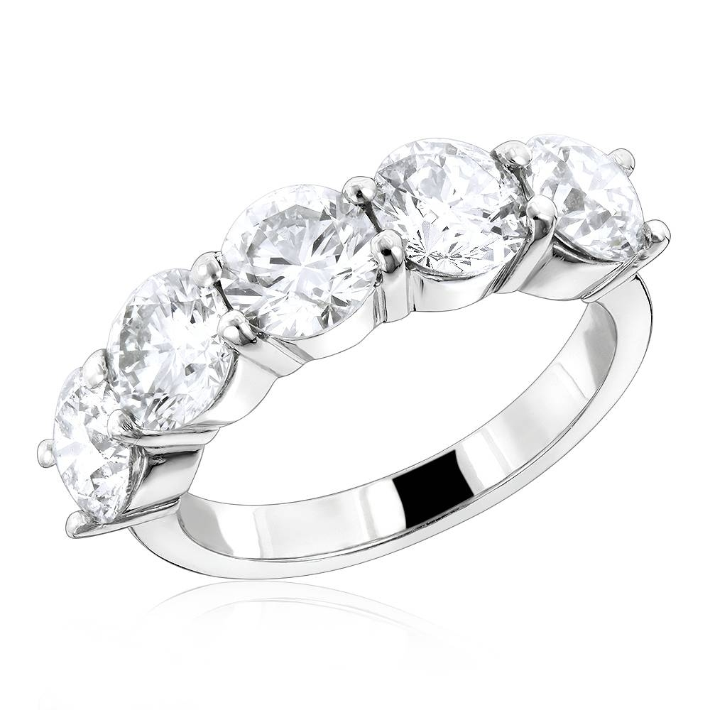 5 Stone Large Diamond Ring 3.75Ct 14K Designer Anniversary Jewelry Throughout Best And Newest 5 Stone Diamond Anniversary Rings (Gallery 3 of 25)