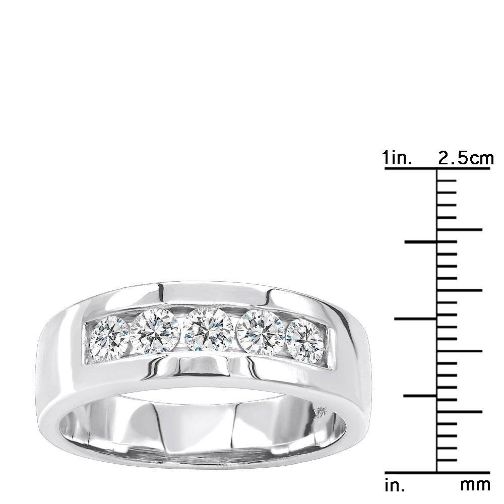 5 Year Anniversary Ring 14K Gold 5 Stone Diamond Wedding Band For For Most Up To Date Five Year Anniversary Rings (View 1 of 25)