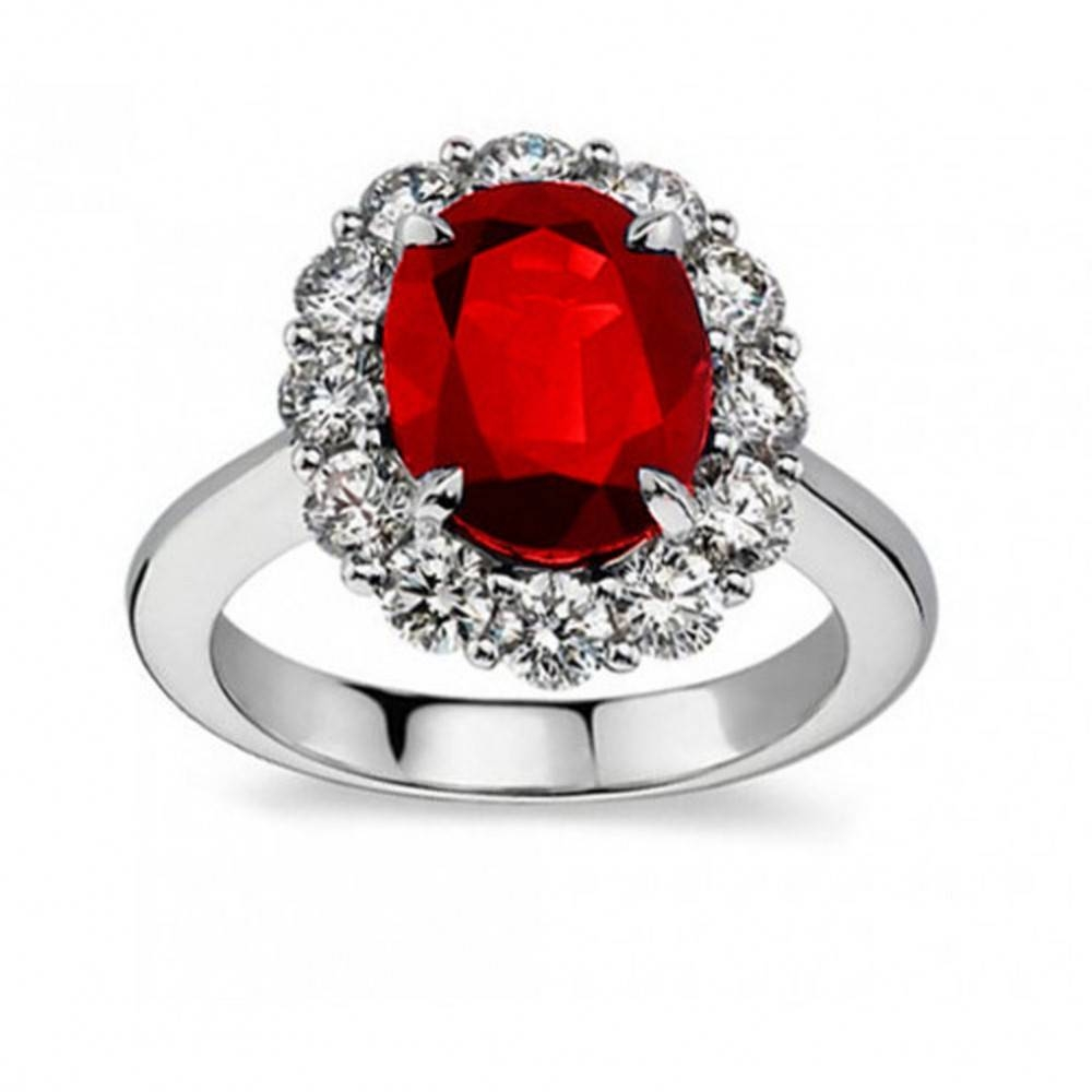 7.09 Ct Oval Shape Ruby And Diamond Anniversary Ring Throughout Most Up To Date Ruby And Diamond Anniversary Rings (Gallery 18 of 25)