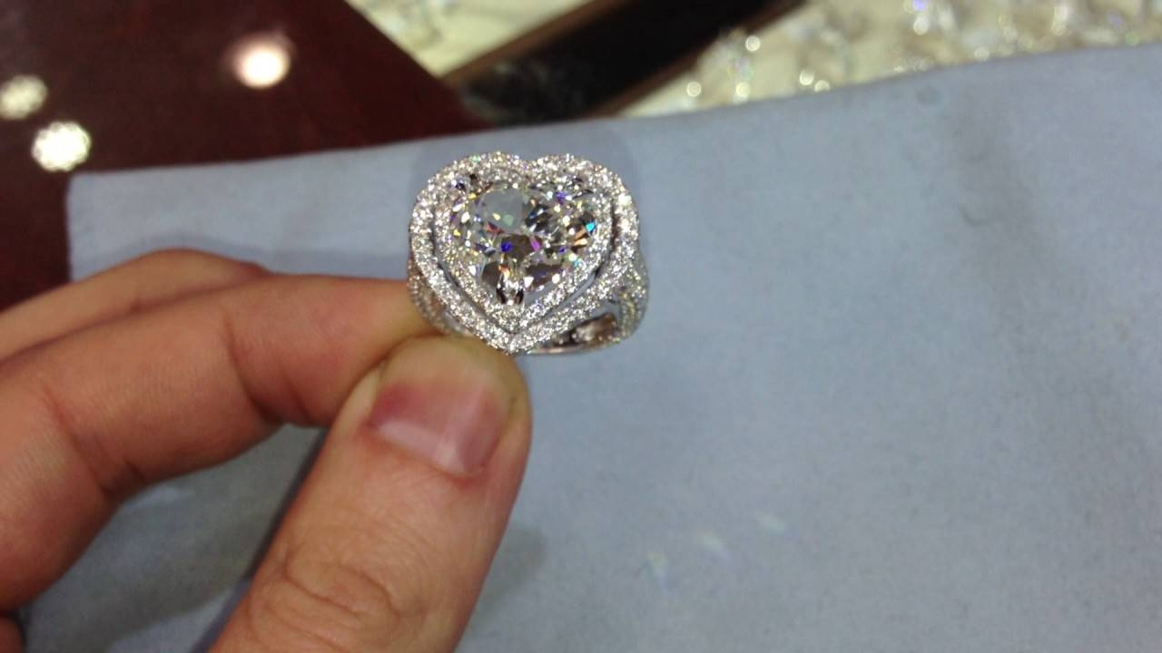 7 Carat Heart Shape Diamond Ring, In Double Halo Micro Pave In Latest Pave Anniversary Rings (Gallery 14 of 25)