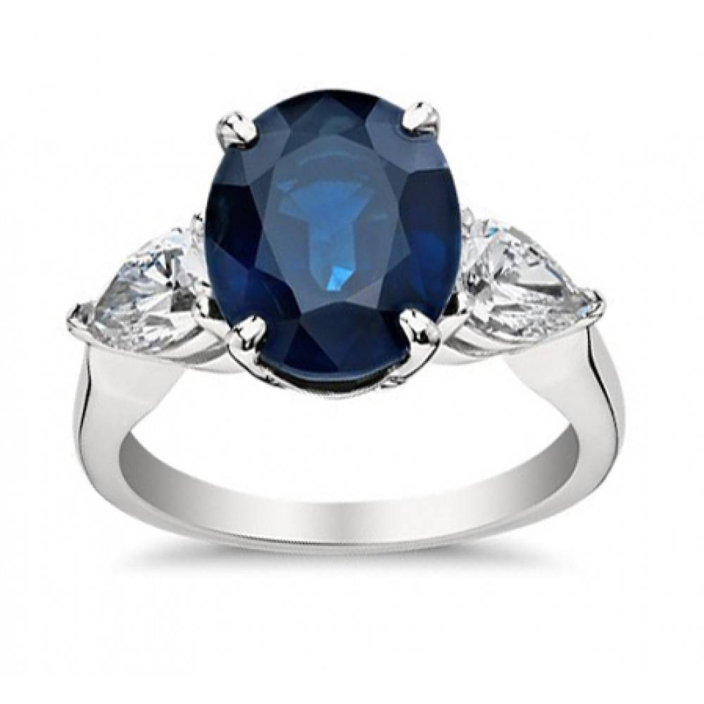 9.33 Ct Oval Shape Sapphire With Pear Shape Diamond Anniversary Ring Within Current Sapphire And Diamond Anniversary Rings (Gallery 8 of 25)