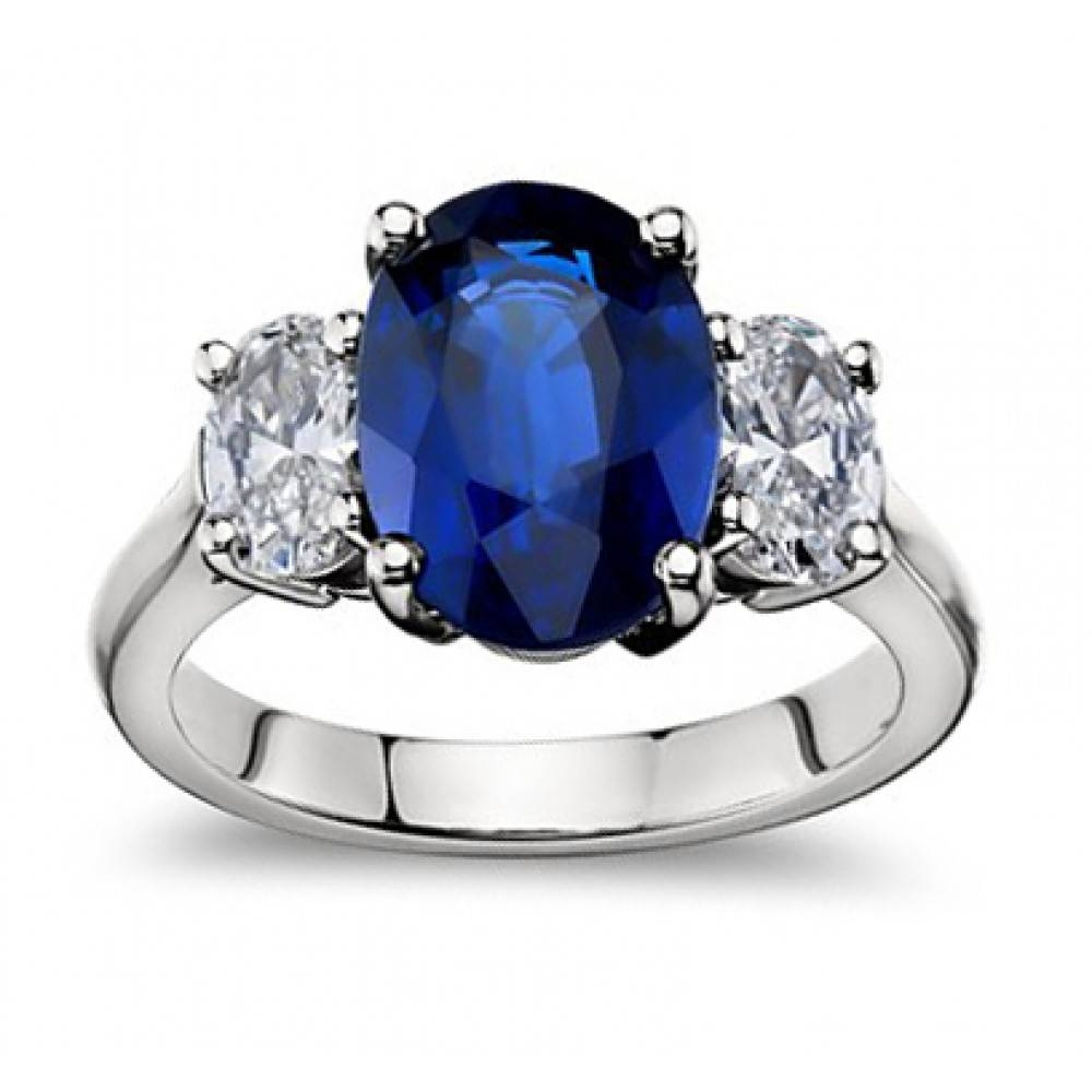 9.45 Ct Oval Shape Sapphire With Oval Shape Diamond Anniversary Ring Pertaining To Recent Sapphire Anniversary Rings (Gallery 21 of 25)