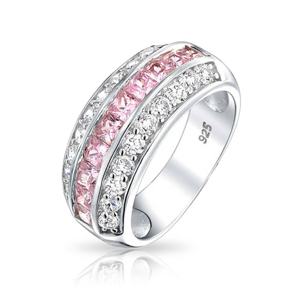 925 Channel Set Pink Cubic Zirconia Wide Half Eternity Ring Inside Recent Cz Anniversary Rings (Gallery 22 of 25)