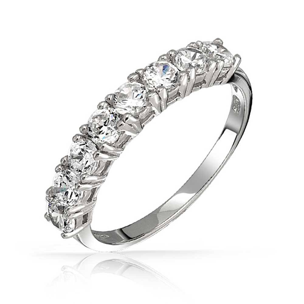 925 Sterling Silver Half Eternity Ring Wedding Band Cz For Best And Newest Cz Anniversary Rings (Gallery 16 of 25)