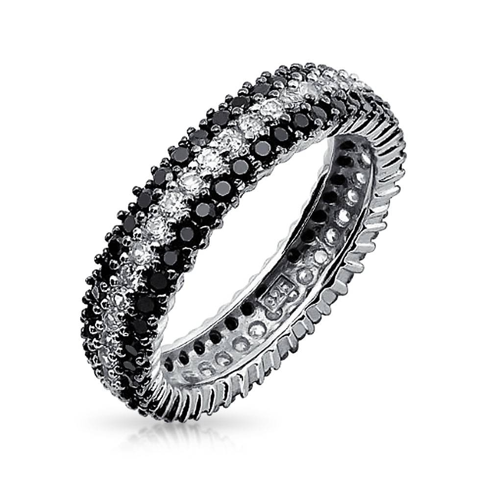 925 Sterling Silver Round Cubic Zirconia Black White Eternity Ring Regarding Most Recently Released Cz Anniversary Rings (Gallery 19 of 25)