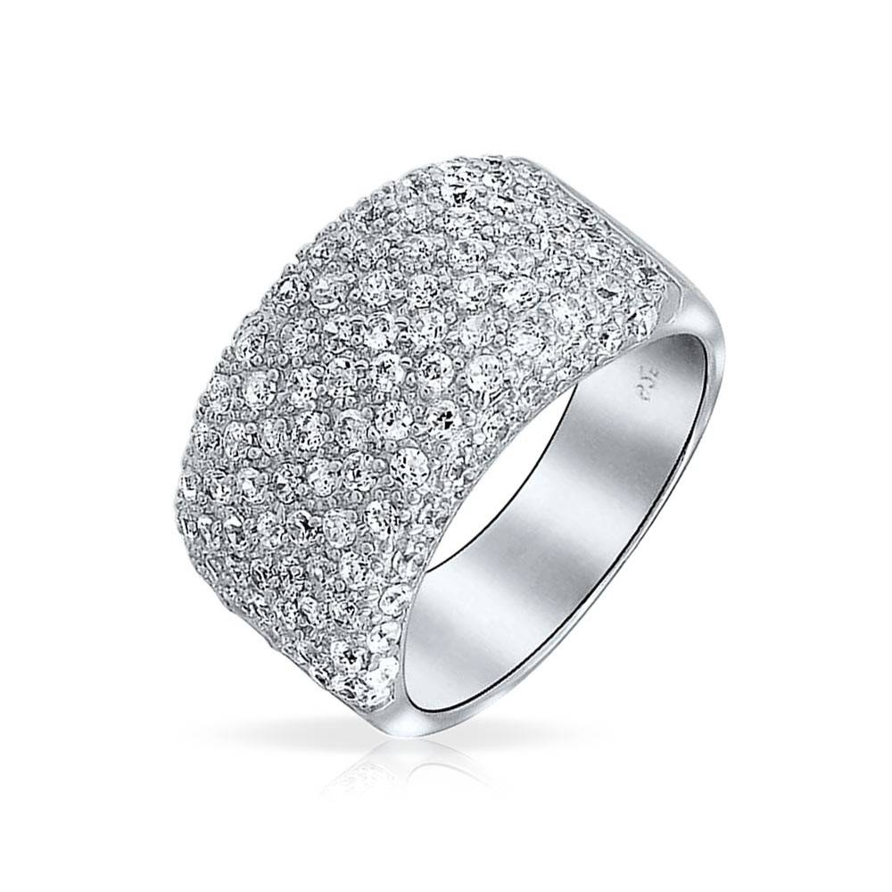 925 Sterling Silver Wide Pave Cz Half Eternity Cocktail Ring Within Most Popular Cz Anniversary Rings (Gallery 13 of 25)