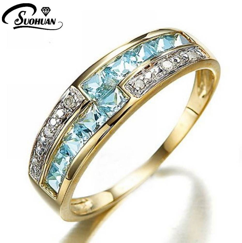 Aliexpress : Buy 2017 New Fashion Jewelry Blue Bling Bling Within Most Recently Released Anniversary Rings For Women (View 2 of 25)