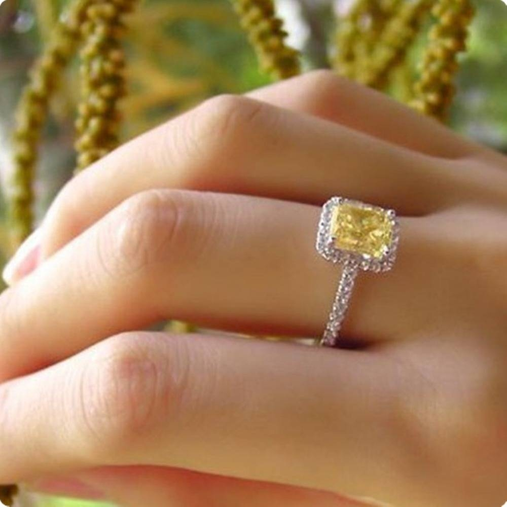 Aliexpress : Buy 2ct Cushion Synthetic Diamonds Ring For Women Within Most Popular Yellow Diamond Anniversary Rings (View 15 of 25)