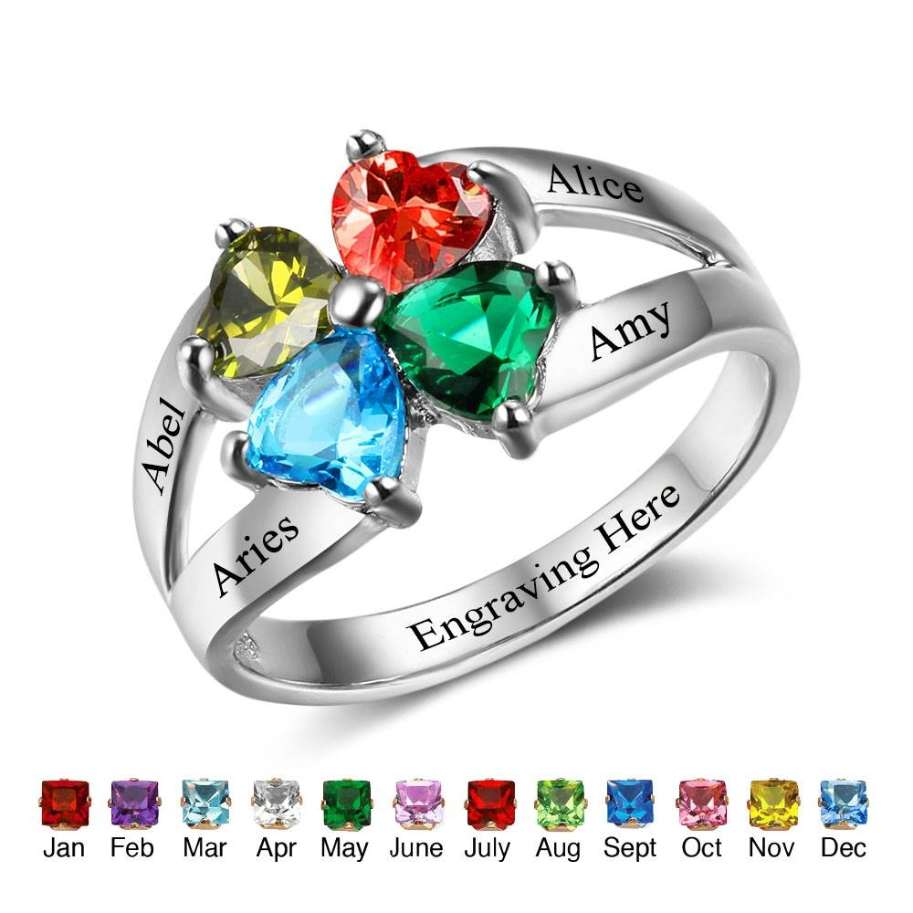 Aliexpress : Buy Custom Heart Birthstone Rings For Family Intended For Current Engraving Anniversary Rings (View 4 of 25)