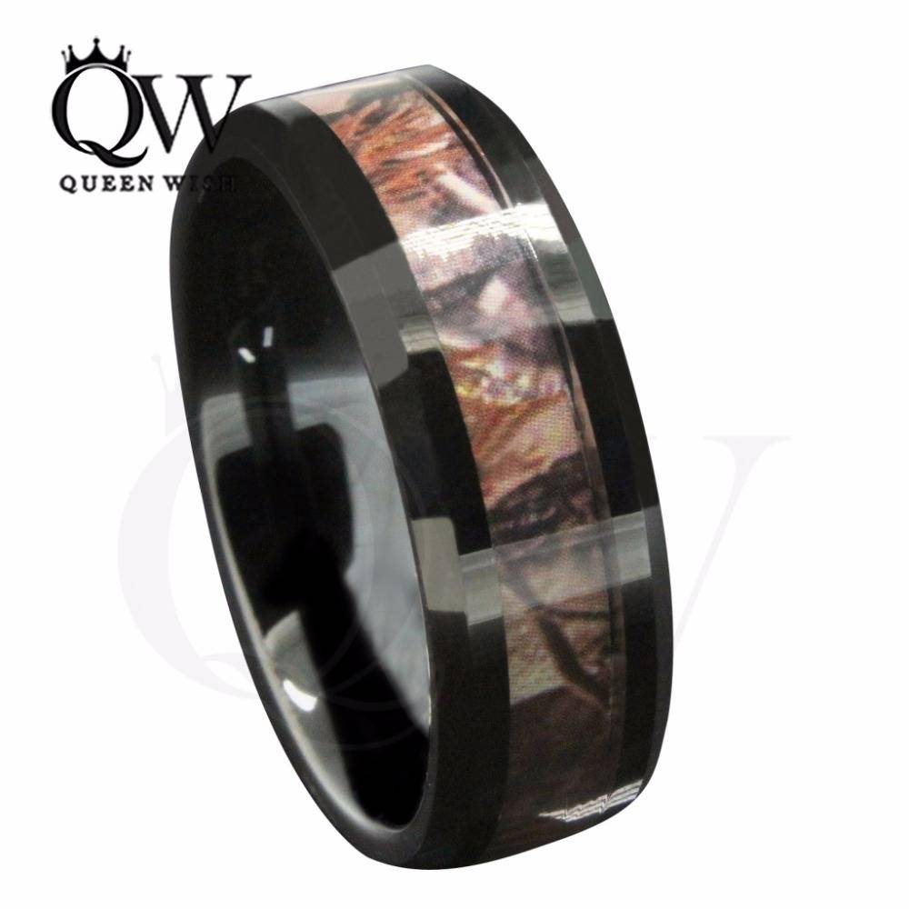 Aliexpress : Buy Queenwish 8Mm Black Tungsten Men's Outdoor With 2017 Camo Anniversary Rings (View 2 of 25)