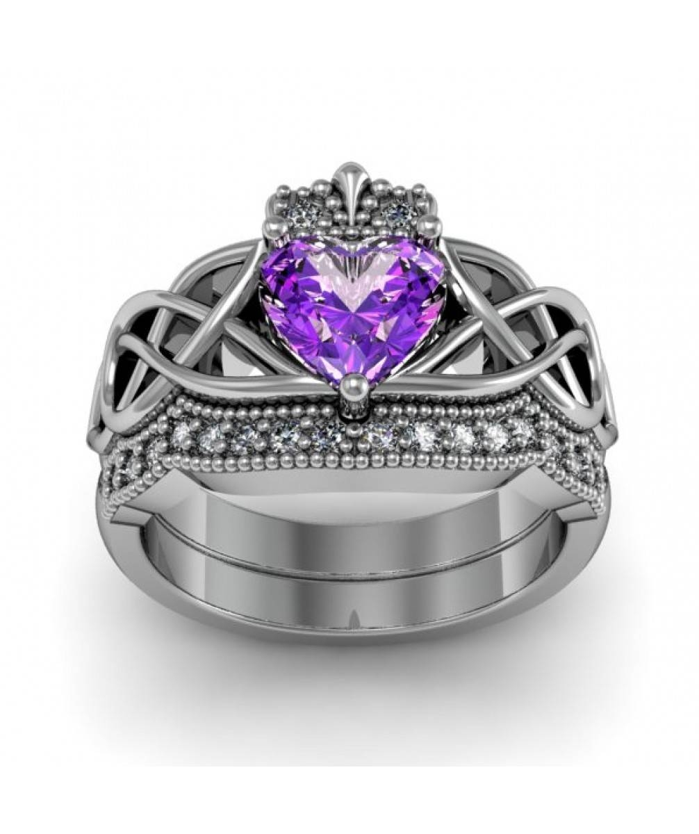 Amethyst Heart Celtic Anniversary And Engagement Ring Set Throughout Latest Celtic Anniversary Rings (View 2 of 25)