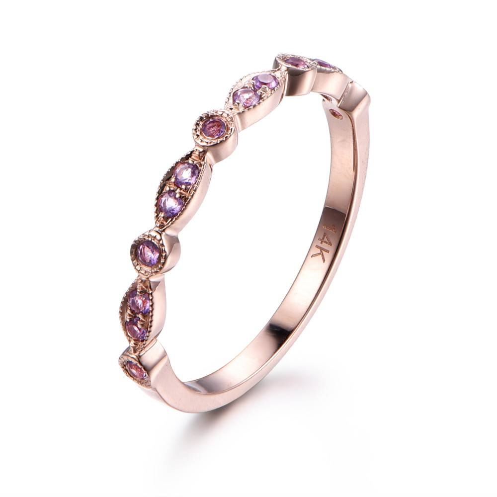 Amethyst,half Eternity Wedding Ring,solid 14K Rose Gold Intended For Best And Newest Marquise Anniversary Rings (View 5 of 25)
