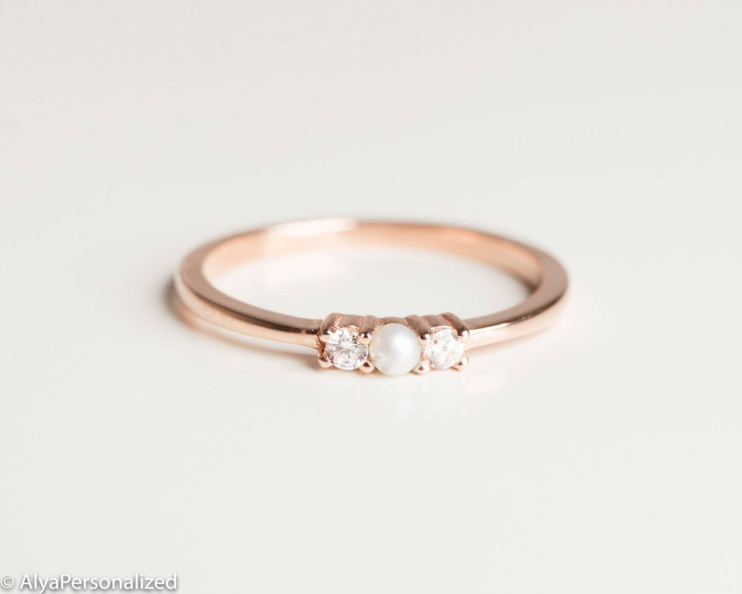 Anniversary Ring Simple Ring Band Thin Rose Gold Ring Inside Most Popular Diamond Anniversary Rings For Women (View 5 of 25)