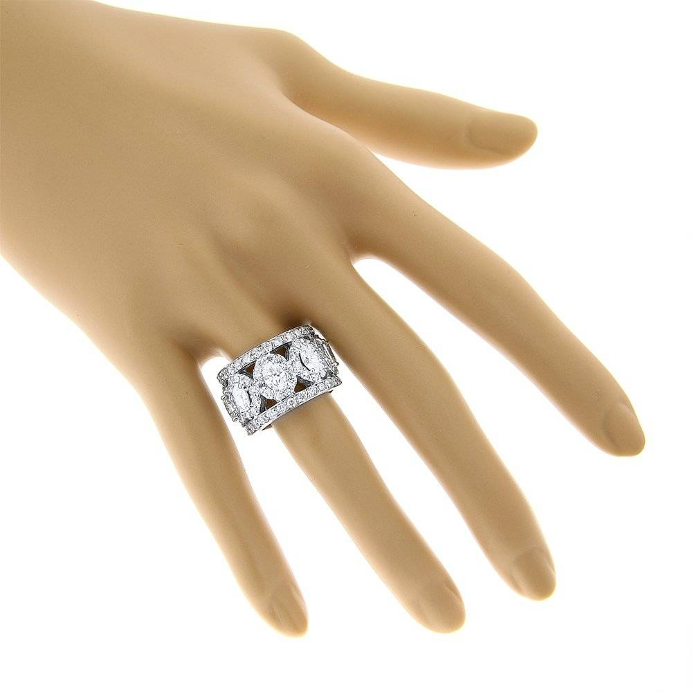 Anniversary Rings: Unique 18k Gold Designer Wide Diamond Eternity Pertaining To 2017 Gold Anniversary Rings (View 13 of 25)