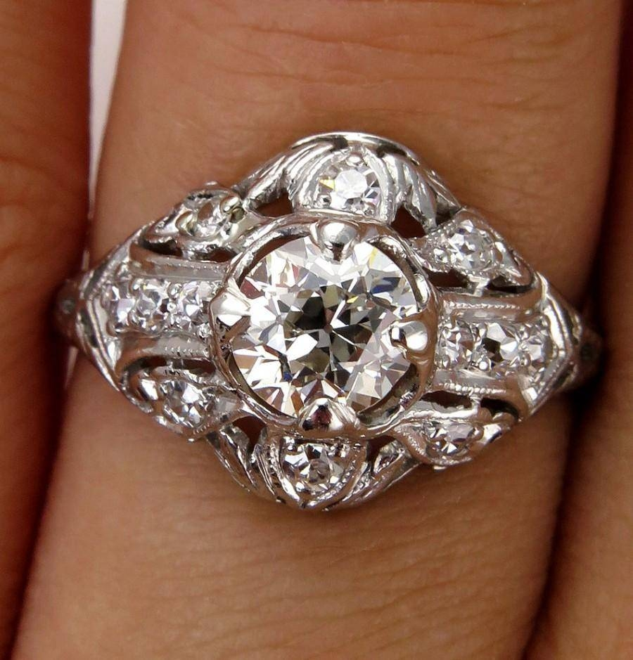 Antique Vintage Edwardian 1.06Ct Platinum Diamond Engagement With Regard To Latest Vintage Anniversary Rings (Gallery 22 of 25)