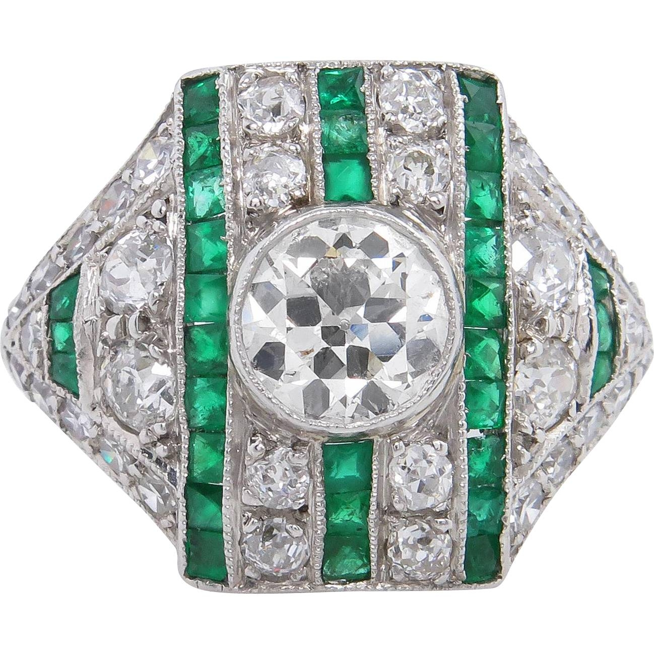 Art Deco 3.31Ct Old European Diamond Emerald Wedding Anniversary With Regard To Most Recently Released Emerald Anniversary Rings (Gallery 19 of 25)