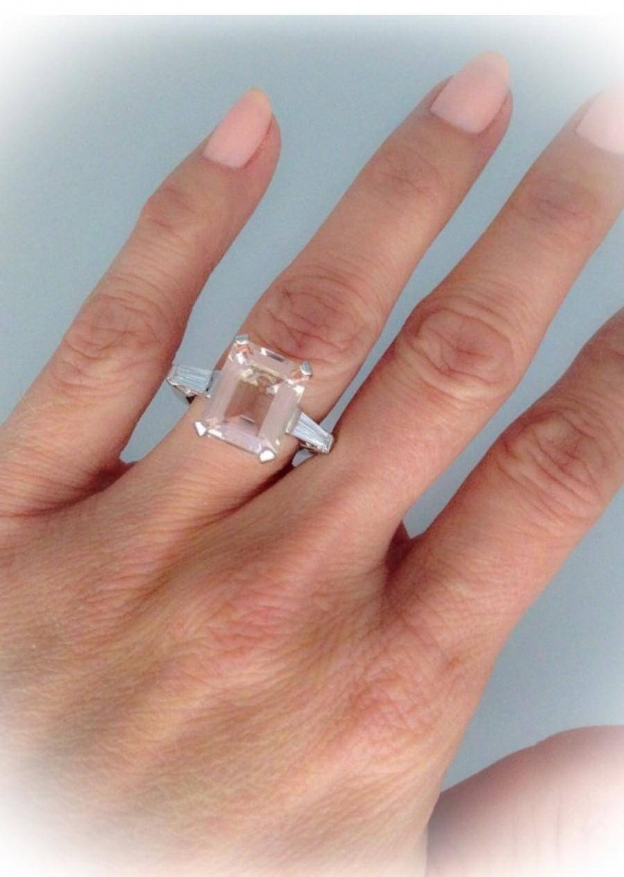Art Deco Morganite Engagement Ring 6.0Tw 18K White Gold Excellent Inside Most Recently Released Emerald Cut Diamond Anniversary Rings (Gallery 7 of 25)