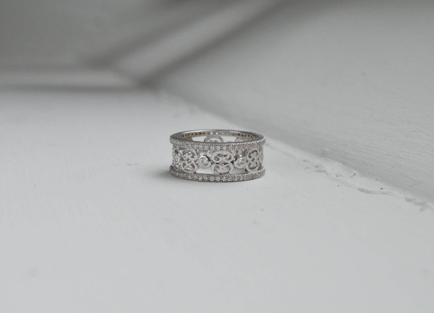 Art Deco Wedding Band Wide Band Eternity Ring Micro Pave Within Most Recent Wide Band Anniversary Rings (View 6 of 25)
